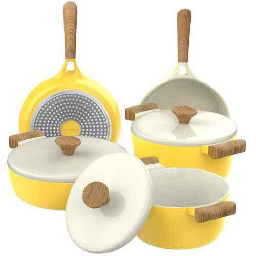 Best Non Stick Pans For Gas Stove 3. Vremi 8 Piece Ceramic Nonstick Cookware Set