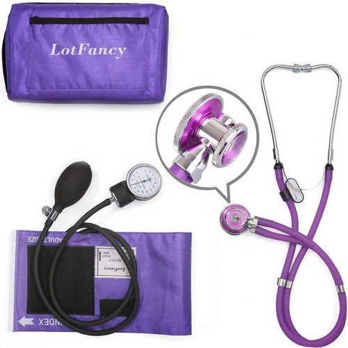 Best Stethoscopes for Blood Pressure 3. LotFancy Aneroid Sphygmomanometer and Stethoscope Kit by LotFancy, Manual Blood Pressure Cuff Gauge, Dual-Head Sprague Stethoscope, Portable Case Included, Purple
