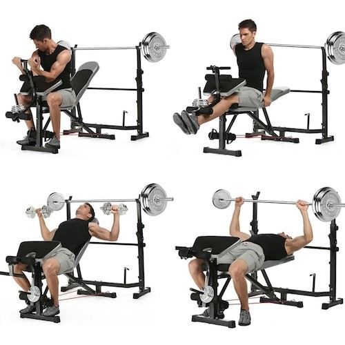 BEST WEIGHT BENCHES FOR HOME 7. Garain 660lbs Multi-Function Olympic Weight Bench, Adjustable Fitness Workout Bench and Barbell Rack Set with Preacher Curl, Leg Developer for Gym Home Office [US Stock]