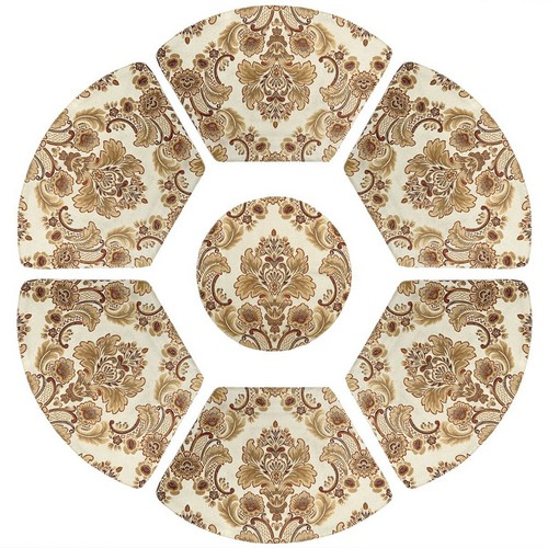 Best Place Mats for Round Tables 4. GRELUCGO Set of 7 Wedge Placemats And Centerpieces Set For Round Tables, Khaki