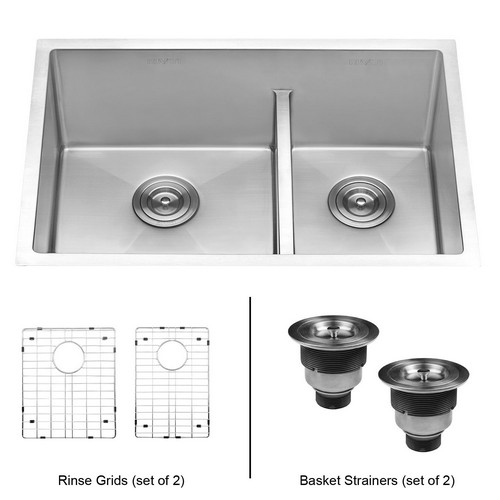 BEST UNDERMOUNT KITCHEN SINKS 1. Ruvati 28-inch Low-Divide Undermount Tight Radius 60/40 Double Bowl 16 Gauge Stainless Steel Kitchen Sink - RVH7255