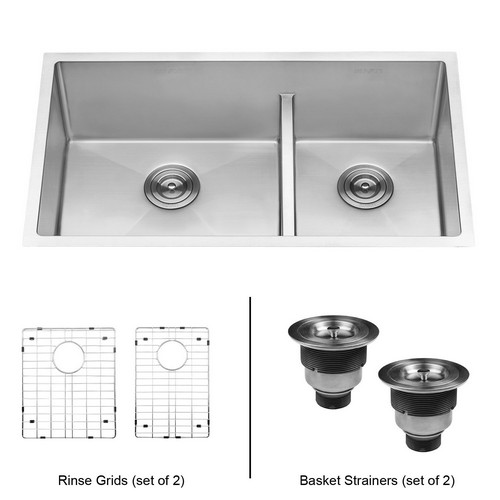 BEST UNDERMOUNT KITCHEN SINKS 6. Ruvati 33-inch Low-Divide Undermount Tight Radius 60/40 Double Bowl 16 Gauge Stainless Steel Kitchen Sink - RVH7419