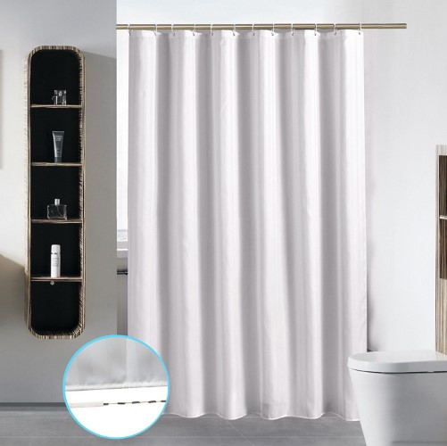 3. Stall Shower Curtain Liner for Bathroom Washable Fabric Waterproof Cloth Mildew Resistant Polyester (Best Small Size Hotel Quality Eco Friendly) with Curved Plastic Hooks Set - 54
