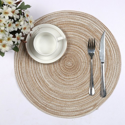 Best Place Mats for Round Tables 8. Topotdor Placemats, 14-Inch Round Placemat Braided Woven Placemats Set of 6(Ivory)