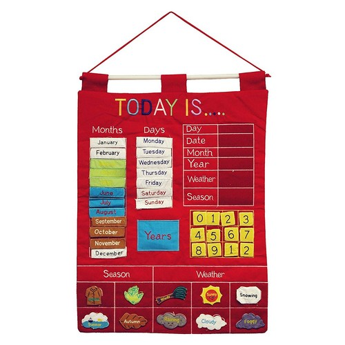 Best Educational Toys for 5-year-old 7. Today Is Children's Calendar Wall Chart by Alma's Design - Red