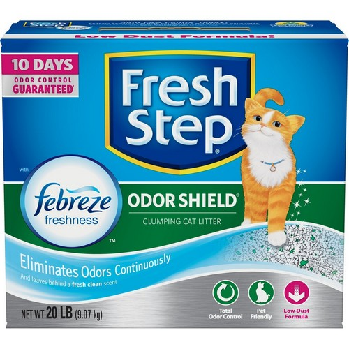 Best Clumping Cat Litters For Odor Control 4. Fresh Step Odor Shield with Febreze Freshness, Clumping Cat Litter, Scented, 20 Pounds