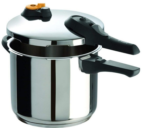 Best Stovetop Pressure Cookers 2. T-Fal Pressure Cooker, Stainless Steel Cpookware, Dishwasher Safe, 15-PSI Settings, 6.3-Quart, Silver, Model P25107