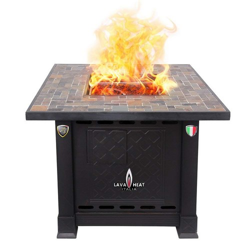 Best Propane Fire Pit Tables 10. Lava Heat Italia LHI-VOLTERRA-30BTU-ANTBR-LP Patio Heater Volterra Fire Pit Table Propane, 30000 BTU, Antique Bronze with Stone