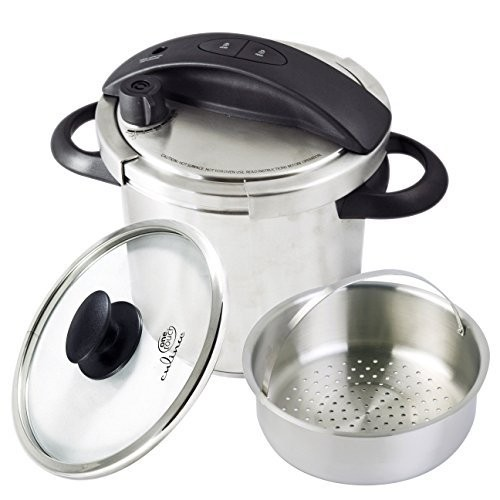 Best Stovetop Pressure Cookers 5. Culina One-Touch Pressure Cooker. Stovetop, 6 Qt. Stainless Steel With Steamer Basket