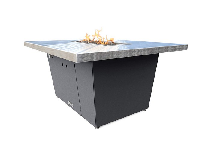 Best Propane Fire Pit Tables 8. COOKE Palisades Rectangular Fire Pit Table - 44x36 - Chat Height - Propane - Brushed Aluminum Top with 3cm Edge - Grey Texture Powdercoat Base