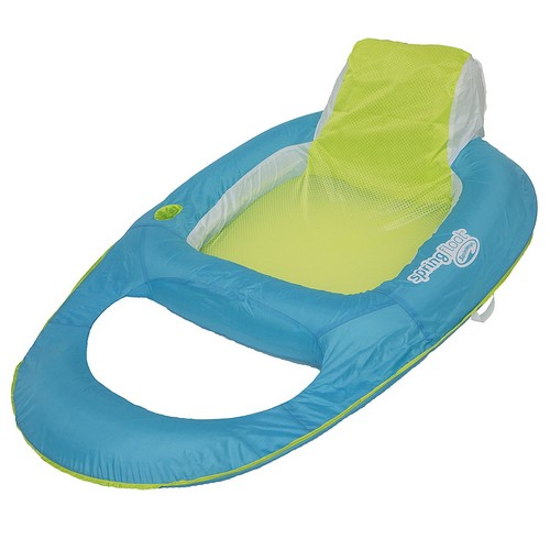 BEST POOL FLOATS FOR TANNING 8. SwimWays Spring Float Recliner Pool Lounger, Light Blue / Lime