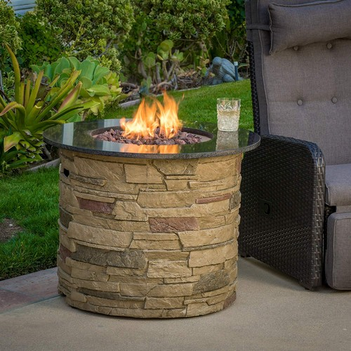 Best Propane Fire Pit Tables 2. Great Deal Furniture Rogers Outdoor Round 40,000 BTU Liquid Propane (Gas) Fire Table Pit with Lava Rocks