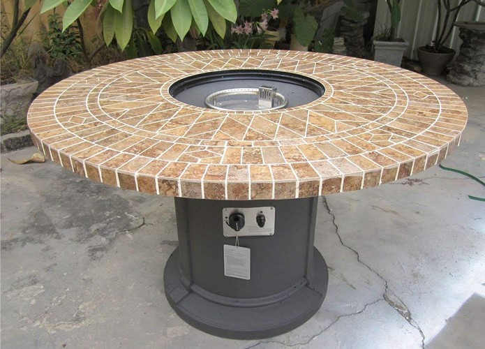 Best Propane Fire Pit Tables 5. Porcelain Mosaic Tile Outdoor Fire Table Pit, 48