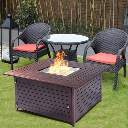 Best Propane Fire Pit Tables 4. Giantex Fire Pit Table Aluminum Frame Outdoor Propane Gas Table Stove Furniture With Cover