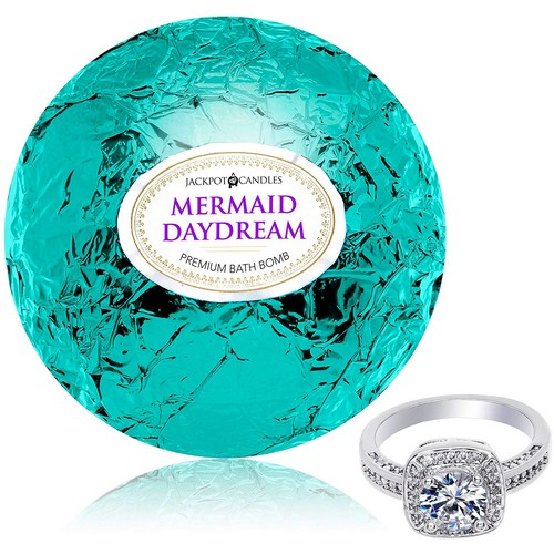 Best Bath Bombs With Rings 2. Jackpot Candles Bath Bomb with Ring Inside Mermaid Daydream Extra Large 10 oz.