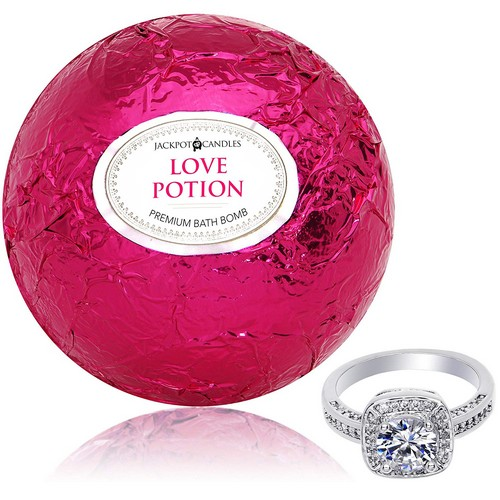 Best Bath Bombs With Rings 9. Jackpot Candles Bath Bomb with Ring Inside Love Potion Extra Large 10 oz.