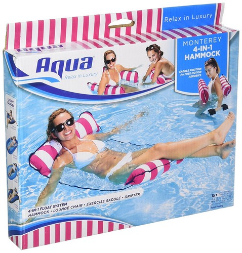 BEST POOL FLOATS FOR TANNING 1. Aqua Monterey 4-in-1 Multi-Purpose Inflatable Hammock (Saddle, Lounge Chair, Hammock, Drifter) Portable Pool Float, Pink