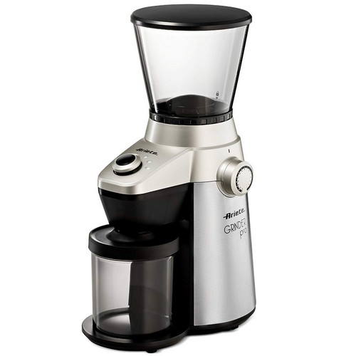 Best Budget Coffee Grinders 2. Ariete -Delonghi Electric Coffee Grinder - Professional Heavy Duty Stainless Steel, Conical Burr - Ultra Fine Grind, Adjustable Cup Size, 15 Fine - Coarse Grind Size Settings