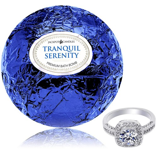 Best Bath Bombs With Rings 8. Jackpot Candles Bath Bomb with Surprise Size Ring Inside Tranquil Serenity Extra Large 10 oz.