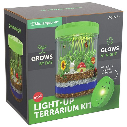 Best Educational Toys for 5-year-old 10. Mini Explorer Light-up Terrarium Kit for Kids with LED Light on Lid