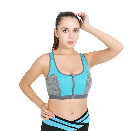 Best High Impact Sports Bras for Large Chest 9. Acemi Women's High Impact Front Zip Non Padded Sports Bra