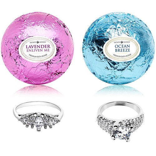 Best Bath Bombs With Rings 6. Jackpot Candles Ocean Breeze Lavender Bath Bombs Gift Set of 2 with Ring Surprise