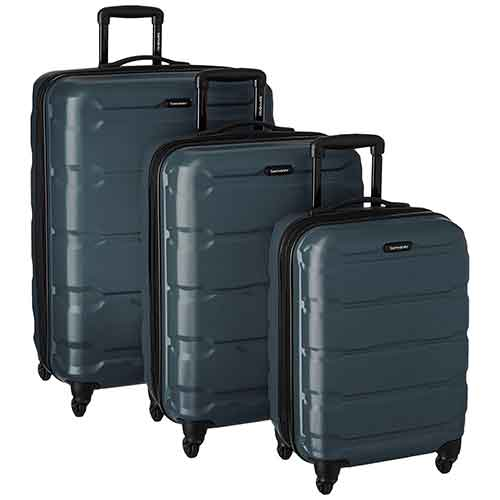Lightweight Checked Luggages 7. Samsonite Omni PC 3 Piece Set Spinner 20 24 28, Teal