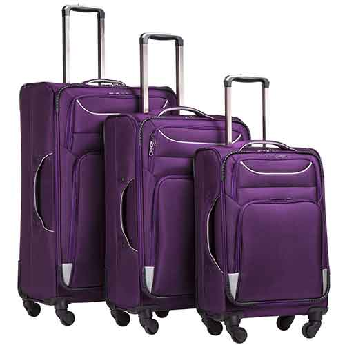Lightweight Checked Luggages 5. Coolife Luggage 3 Piece Set Suitcase