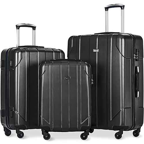 Lightweight Checked Luggages 2. Merax 3 Piece P.E.T Luggage Set