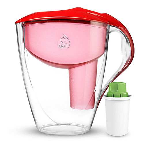 Best Alkaline Water Pitchers 10. Dafi Alkaline UP Astra 12 cups - Innovative Alkaline Water System - Get water with high pH of 9.5 and negative OR potential in BPA free Water Pitcher (Red)
