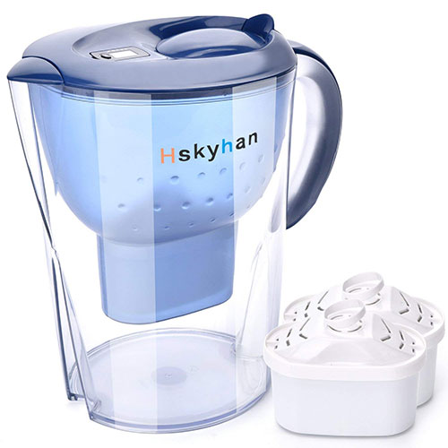Best Alkaline Water Pitchers 3. Hskyhan Alkaline Water Pitcher - 3.5 Liters Improve PH, 2 Filters Included, 7 Stage Filtration System to Purify, Blue