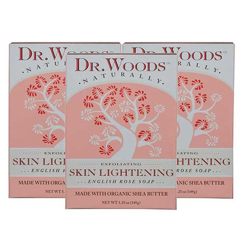 4. Dr. Woods Skin Lightening English Rose Bar Soap with Organic Shea Butter, 5.25 Ounce (Pack of 3)