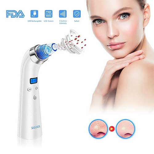 8. Blackhead Acne Remover Vacuum Electronic Facial Pore Cleaner With 4 Replaceable Suction Head by SROCKER