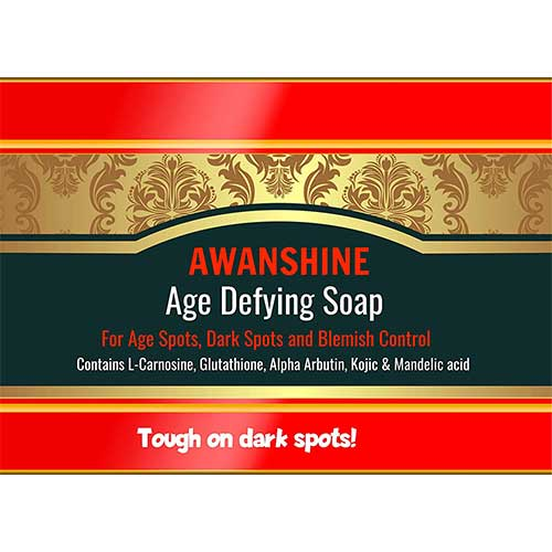 5. Awanshine whitening soap with Age Defying properties for age spots, dark spots, freckles, darkknees, dark knuckles, Hyperpigmentation