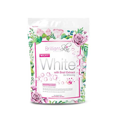 3. Brilliant Skin Essentials Milky White Whipped Soap with Snail Extract 10x Whitening