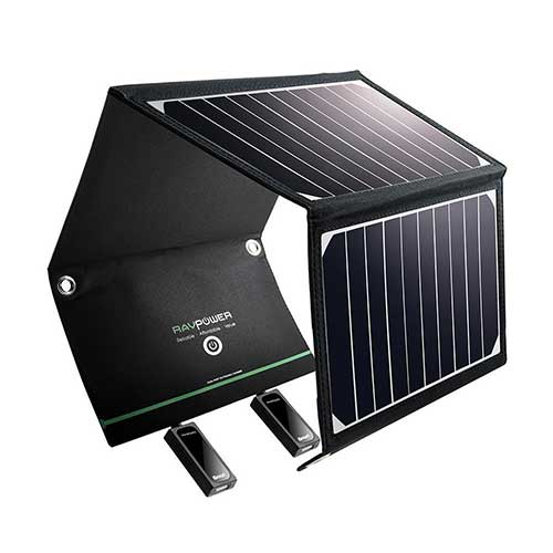 3. RAVPower Solar Charger 16W Solar Panel with Dual USB Port Waterproof Foldable for Camping Travel