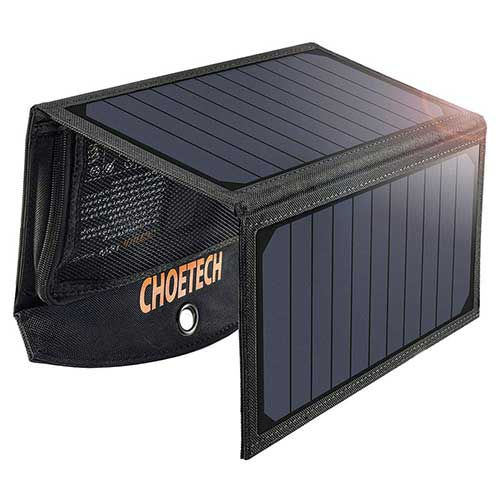 8. Solar Charger, CHOETECH 19W Solar Phone Charger Dual USB Port Durable Camping Solar Panel Charger