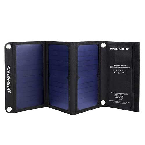 9. PowerGreen Solar Charger with Dual USB 21W Foldable SunPower High Efficiency Outdoor Solar Panel for All 5V Digital Devices