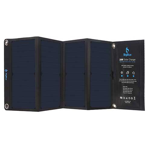 4. BigBlue 3 USB Ports 28W Solar Charger, 5V Foldable Waterproof Outdoor Solar Battery Charger with SunPower Solar Panel