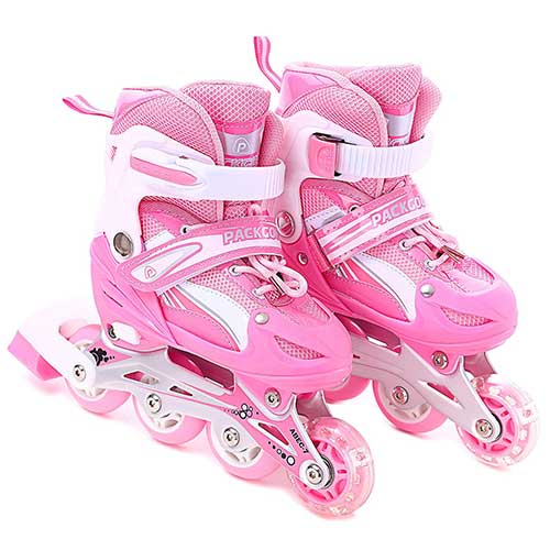 4. PACKGOUT Girls Inline Skates Adjustable Rollerblades for Kids Girls Illuminating Wheel