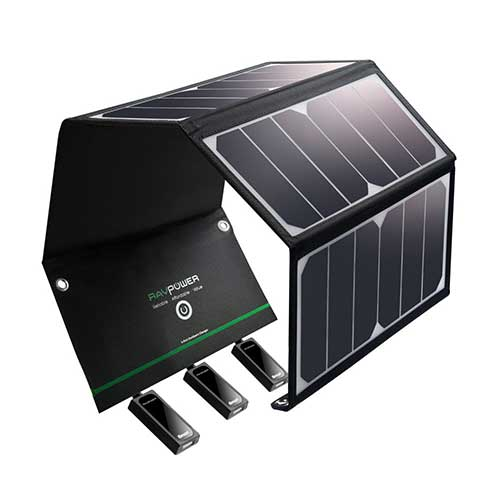 1. Solar Charger RAVPower 24W Solar Panel with 3 USB Ports Waterproof Foldable Camping Travel Charger