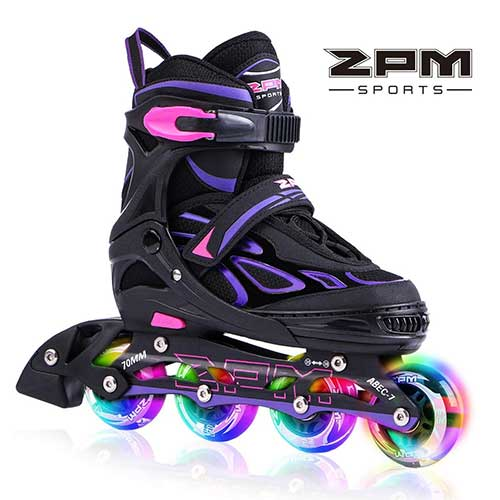 1. 2PM SPORTS Vinal Girls Adjustable Inline Skates with Light up Wheels Beginner Skates Fun Illuminating Roller Skates