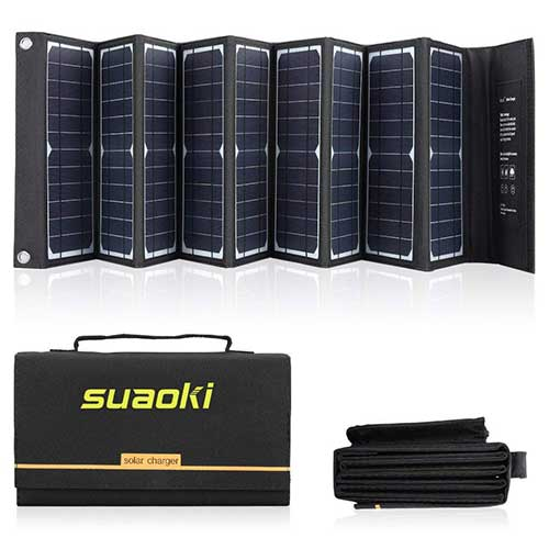 6. SUAOKI Solar Charger 60W Portable Solar Panel Foldable High Efficiency 5V USB 18V DC Dual Output Charger