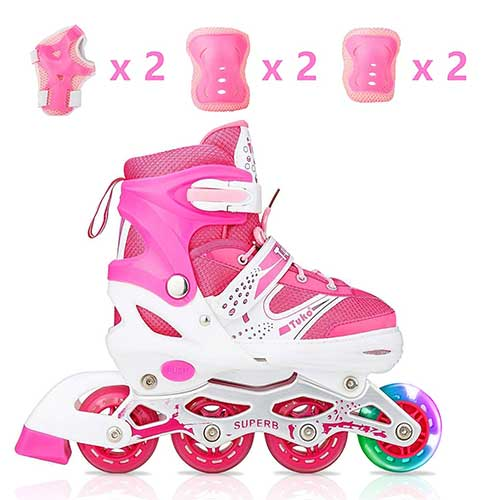 2. Tuko Kids Adjustable Inline Skates for Girls Rollers Adjust Skates Blades Illuminating Wheel Patines para Niños with Protective Pads