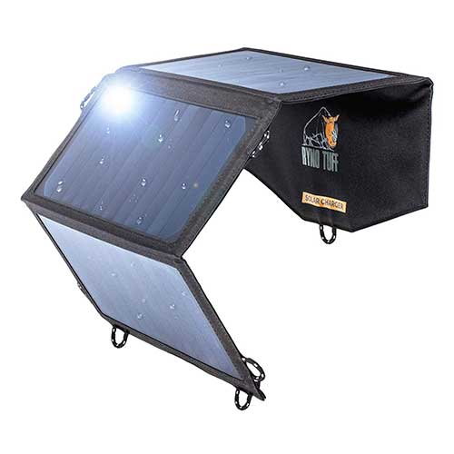 5. Ryno Tuff Solar Charger 21W Dual USB, Charges Your Cell Phone, Power Bank, Electronics and More