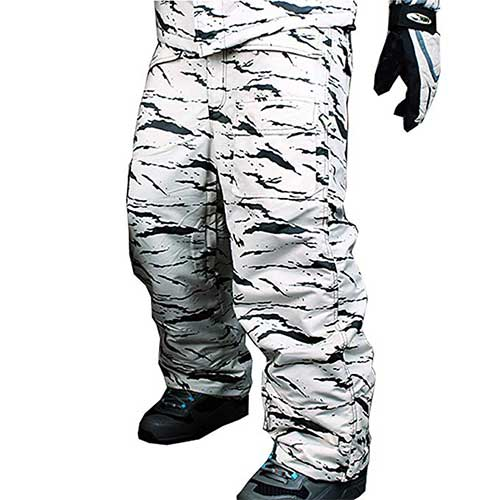 Best Men's Snowboard Pants 6. myglory77mall Mens Winter Warm Waterproof Hip Ski Snowboard Military Camo Pants