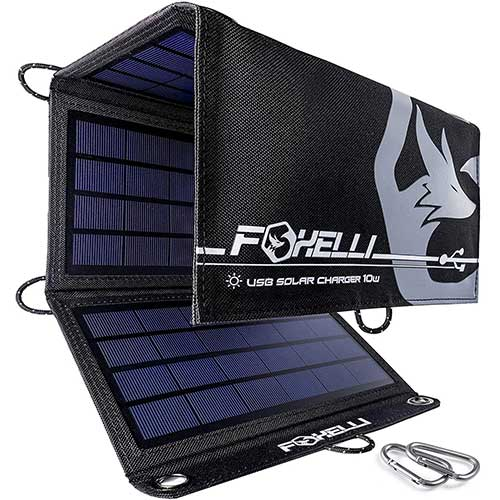 2. Foxelli Dual USB Solar Charger 10W - Foldable Solar Panel Phone Charger, Portable Solar Power Charger for Camping & Outdoors