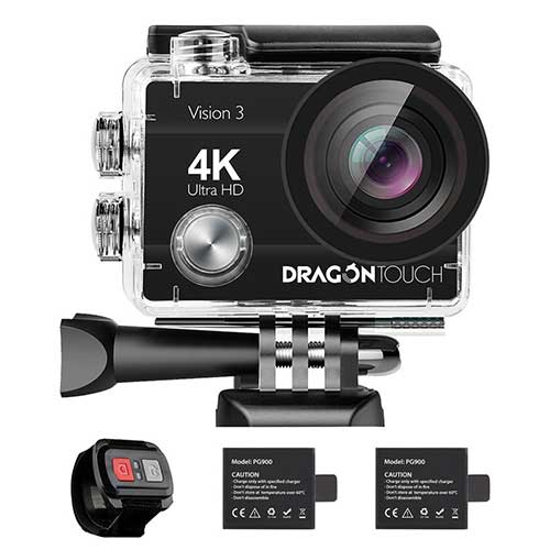 10. Dragon Touch 4K Action Camera 16MP Vision 3 Underwater Waterproof Camera 170° Wide Angle