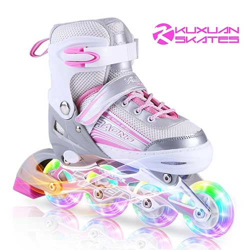 3. Kuxuan Inline Skates Adjustable for Kids,Girls Skates with All Wheels Light up,Fun Illuminating for Girls and Ladies