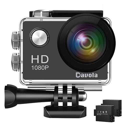2. Action Camera 1080P 12MP WiFi Sport Camera 98ft Underwater Waterproof camera -Davola DL101